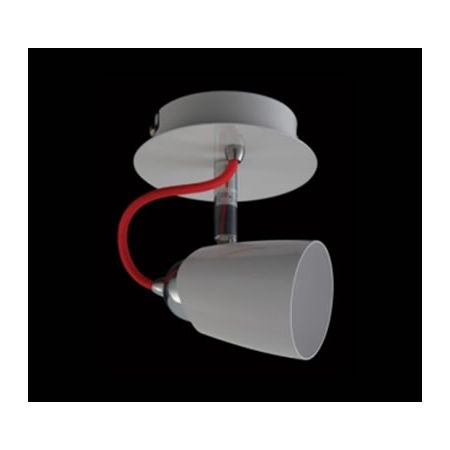 SINGLE SPOT LIGHT, WHITE WITH RED CORD