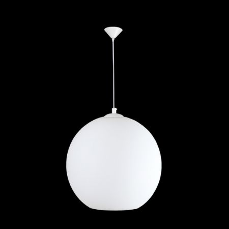 LARGE GLASS BALL PENDANT, WHITE