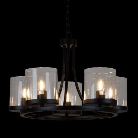 CHAPLIN CHANDELIER 5LT METAL WITH GLASS SHADES