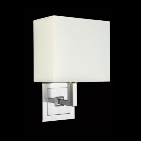 CHROME WALL LIGHT WITH SQUARE FABRIC SHADE